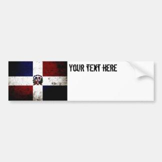 Autocollant De Voiture Drapeau grunge noir de la République Dominicaine