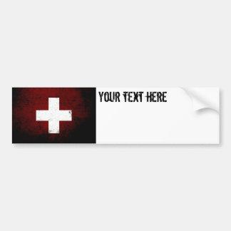 Autocollant De Voiture Drapeau grunge noir de la Suisse