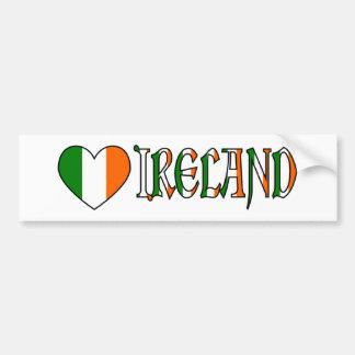 Autocollant De Voiture Drapeau irlandais et mot Irlande de coeur