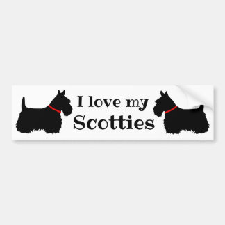 Autocollant De Voiture Écossais Terrier, j'aime mes Scotties, colliers