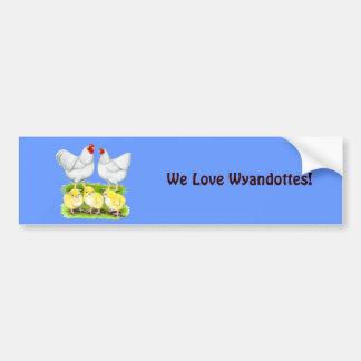 Autocollant De Voiture Famille blanche de poulet de Wyandotte