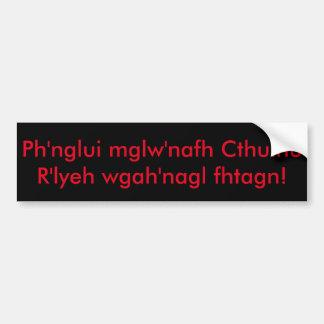 Autocollant De Voiture Fhtagn de wgah'nagl de Cthulhu R'lyeh de mglw'nafh