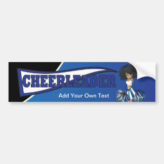 Autocollant De Voiture Fille bleue d'acclamation de pom-pom girl