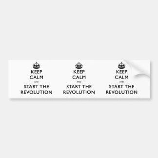 Autocollant De Voiture Gardez le calme et commencez la révolution