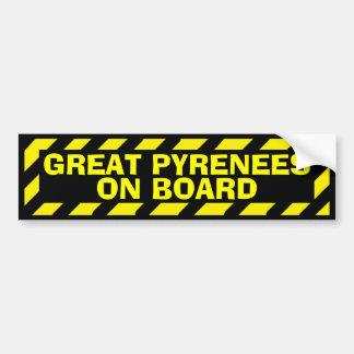 Autocollant De Voiture Grands Pyrénées à bord d'autocollant jaune de