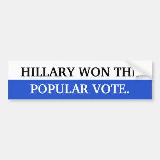 Autocollant De Voiture Hillary a gagné le vote populaire