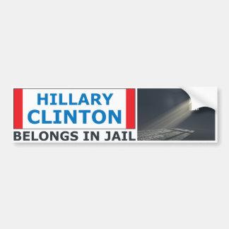 Autocollant De Voiture Hillary Clinton appartient en prison