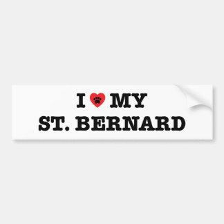 Autocollant De Voiture I coeur mon St Bernard
