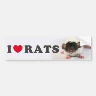 Autocollant De Voiture I love (cute) Rats