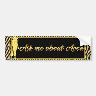 Autocollant De Voiture Interrogez-moi au sujet d'Avon, tigre d'or