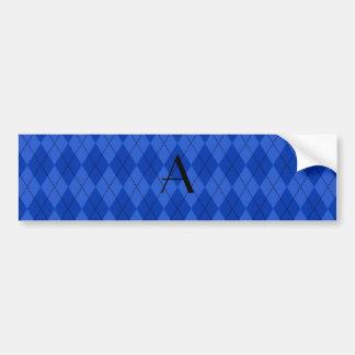 Autocollant De Voiture Jacquard de bleu de monogramme