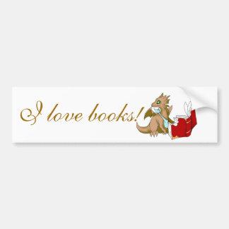 """Autocollant De Voiture """"J'adhésif pour pare-chocs de dragon aime livres"""""""