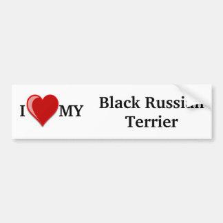Autocollant De Voiture J'aime (coeur) mon chien noir de Terrier de Russe