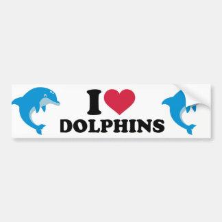 Autocollant De Voiture J'aime des dauphins