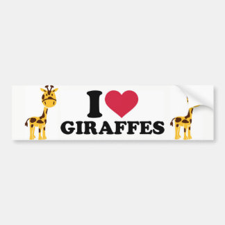 Autocollant De Voiture J'aime des girafes