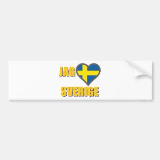 Autocollant De Voiture J'aime la Suède (pointe Älskar Sverige)
