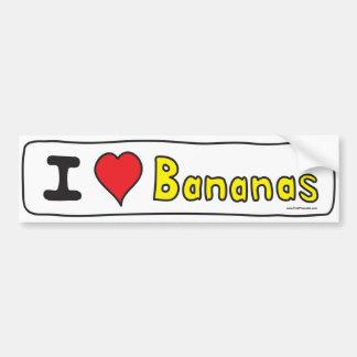 Autocollant De Voiture J'aime l'adhésif pour pare-chocs de bananes
