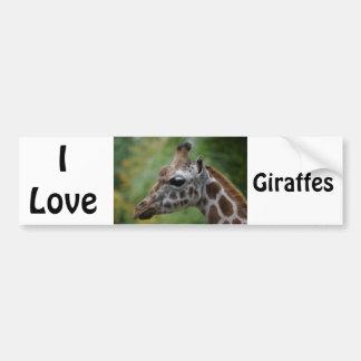 Autocollant De Voiture J'aime l'adhésif pour pare-chocs de girafes