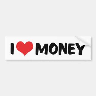 Autocollant De Voiture J'aime l'argent de coeur - entrepreneur d'affaires