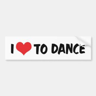 Autocollant De Voiture J'aime le coeur pour danser - l'amant de valse de