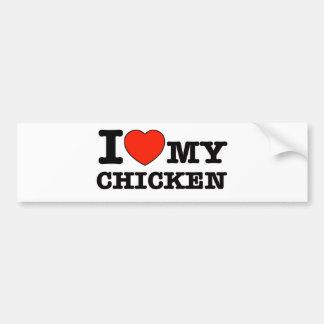 Autocollant De Voiture J'aime le poulet