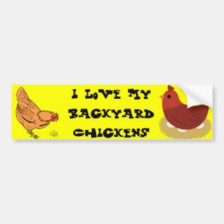 Autocollant De Voiture J'aime mon adhésif pour pare-chocs de poulets de