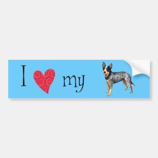 Autocollant De Voiture J'aime mon chien australien de bétail