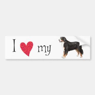 Autocollant De Voiture J'aime mon chien de montagne de Bernese