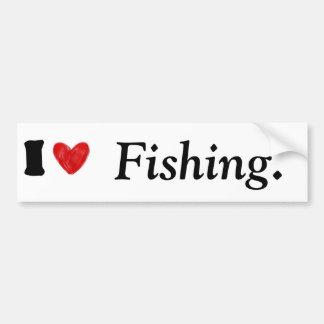 Autocollant De Voiture J'aime pêcher l'adhésif pour pare-chocs de coeur