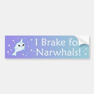 Autocollant De Voiture Je freine pour Narwhals