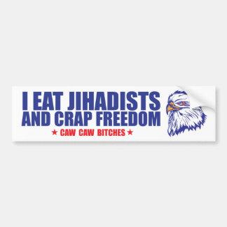 Autocollant De Voiture Je mange des jihadists et la liberté de merde