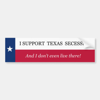 Autocollant De Voiture Je soutiens la secession du Texas