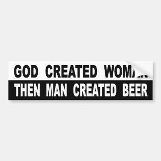 Autocollant De Voiture La femme créée par Dieu équipent alors la bière