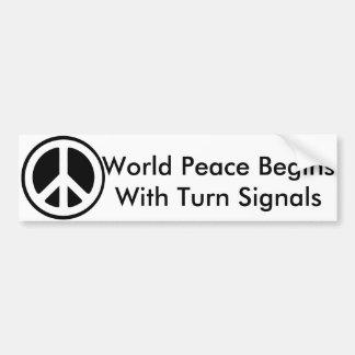 Autocollant De Voiture La paix du monde commence par des clignotants