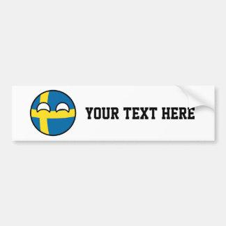 Autocollant De Voiture La Suède Geeky tendante drôle Countryball