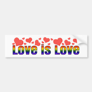 Autocollant De Voiture L'amour est des coeurs d'arc-en-ciel d'égalité de