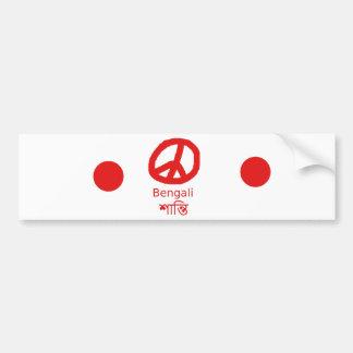 Autocollant De Voiture Langue et conception bengali de symbole de paix