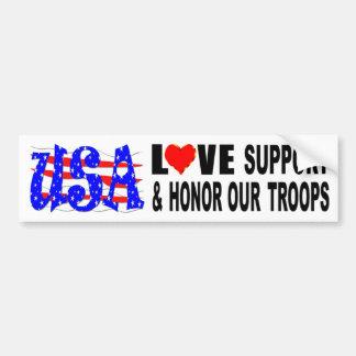 Autocollant De Voiture L'appui d'amour des Etats-Unis et honorent nos