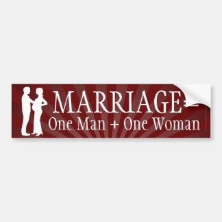 Autocollant De Voiture Le mariage égale un homme + Un adhésif pour
