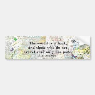 Autocollant De Voiture Le monde est une CITATION de VOYAGE de livre