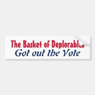 Autocollant De Voiture Le panier de Deplorables est sorti le vote 2016