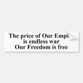 Autocollant De Voiture Le prix de la liberté est guerre éternelle de