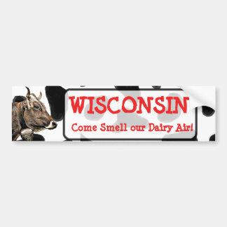 Autocollant De Voiture Le Wisconsin, sentent notre chemise de vache à