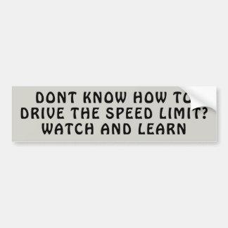 Autocollant De Voiture Leasons de limitation de vitesse. Observez et