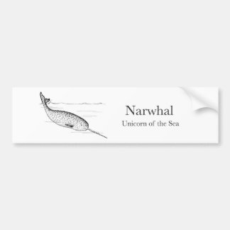 Autocollant De Voiture Licorne de baleine de Narwhal de la mer