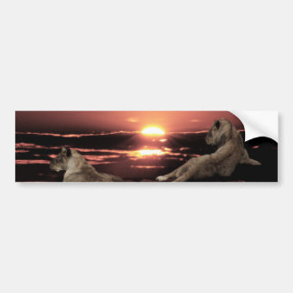Autocollant De Voiture Lions africains se reposant au coucher du soleil