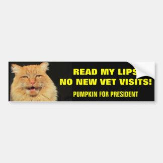 Autocollant De Voiture Lisez mon citrouille de lèvres… pour le président