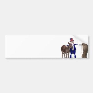 Autocollant De Voiture L'Oncle Sam étreint l'âne heureux