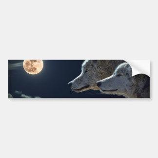 Autocollant De Voiture Loups blancs dans la pleine lune