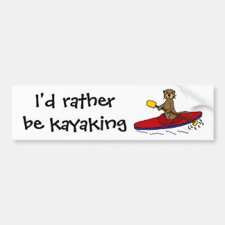 Autocollant De Voiture Loutre drôle Kayaking